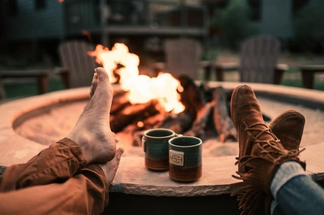 Relaxing By A Fire