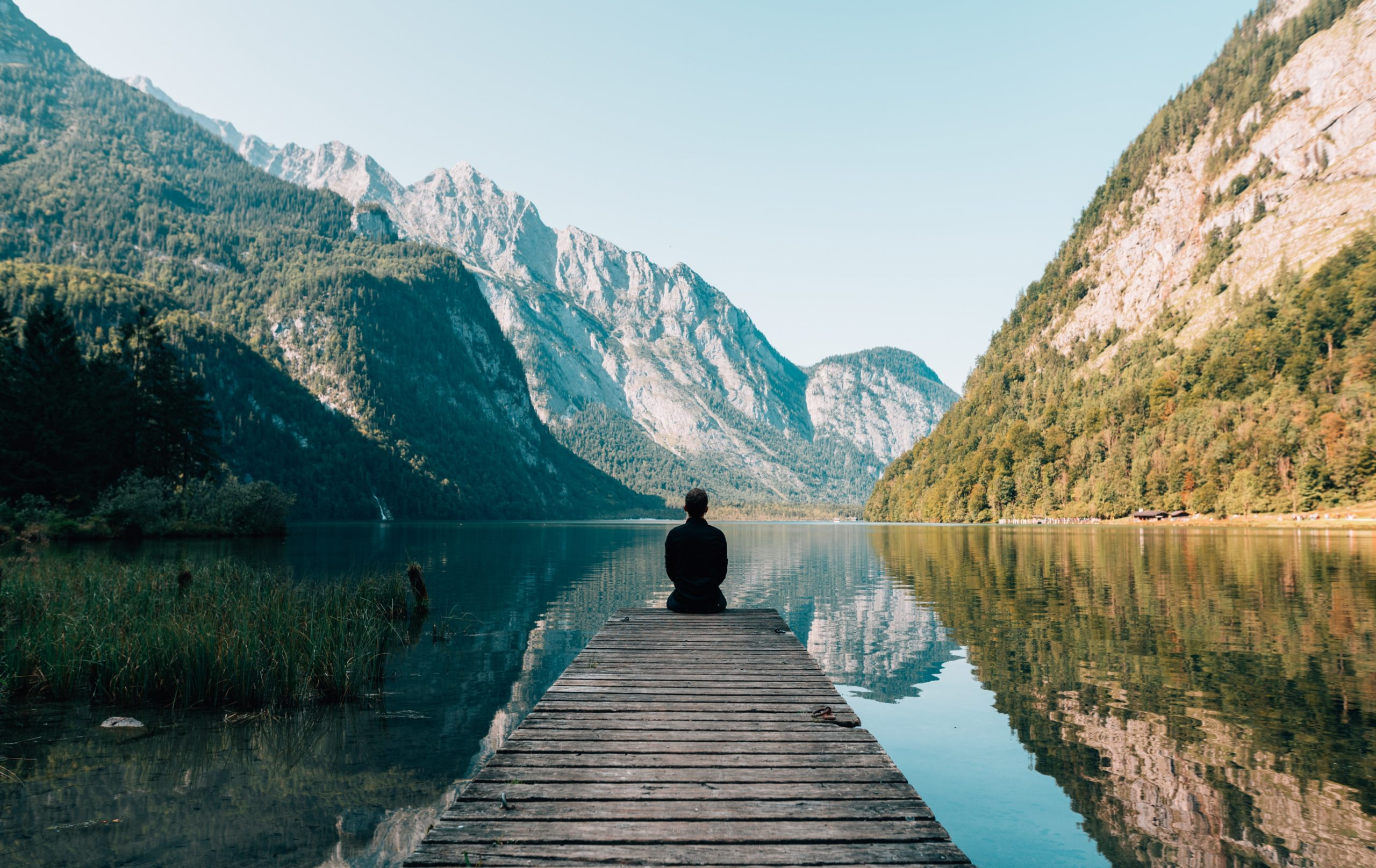 Self-care sitting on a dock